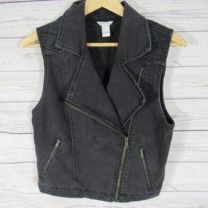 Forever 21 Denim Jacket Vest Womens Small S Black